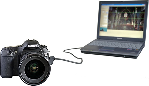 DSLR connected to laptop
