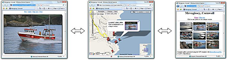 BreezeBrowser Pro's GPS template integrates web galleries and online maps